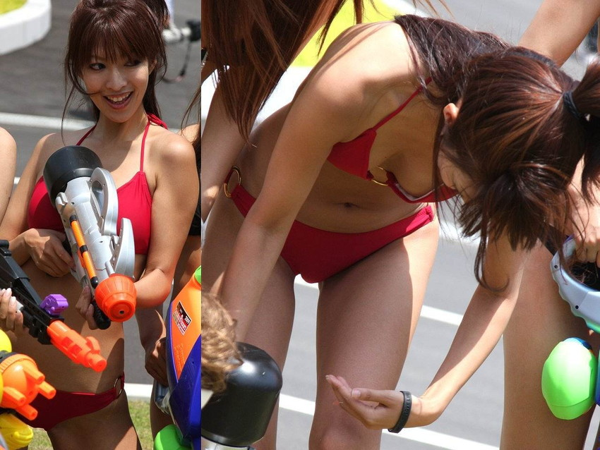 【キャンギャルエロ画像】こんな過激衣装でイベント会場を闊歩するキャンギャルたちのハプニング多し! 08
