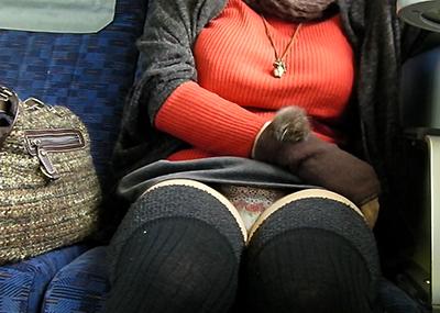 【パンチラエロ画像】電車内で対面に座った女の子のスカートの中身…