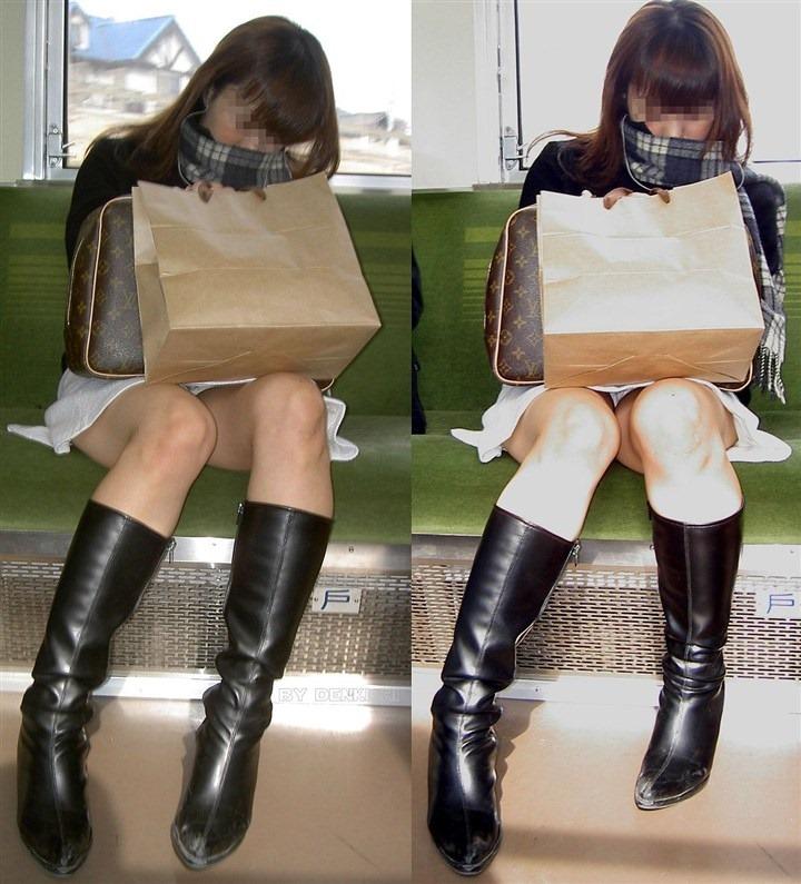 【盗撮パンチラエロ画像】対面の席に座ったスカート姿の女の子の股間が気になる件。 04