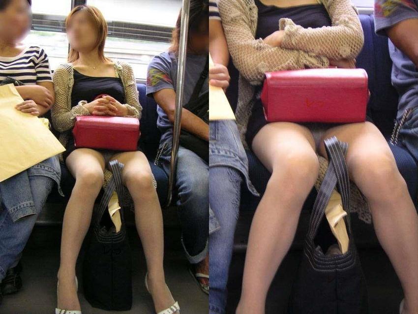 【パンチラエロ画像】魅惑のデルタゾーン!!電車内の楽しみはこれしかないwww 16