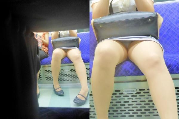 【パンチラエロ画像】魅惑のデルタゾーン!!電車内の楽しみはこれしかないwww 22